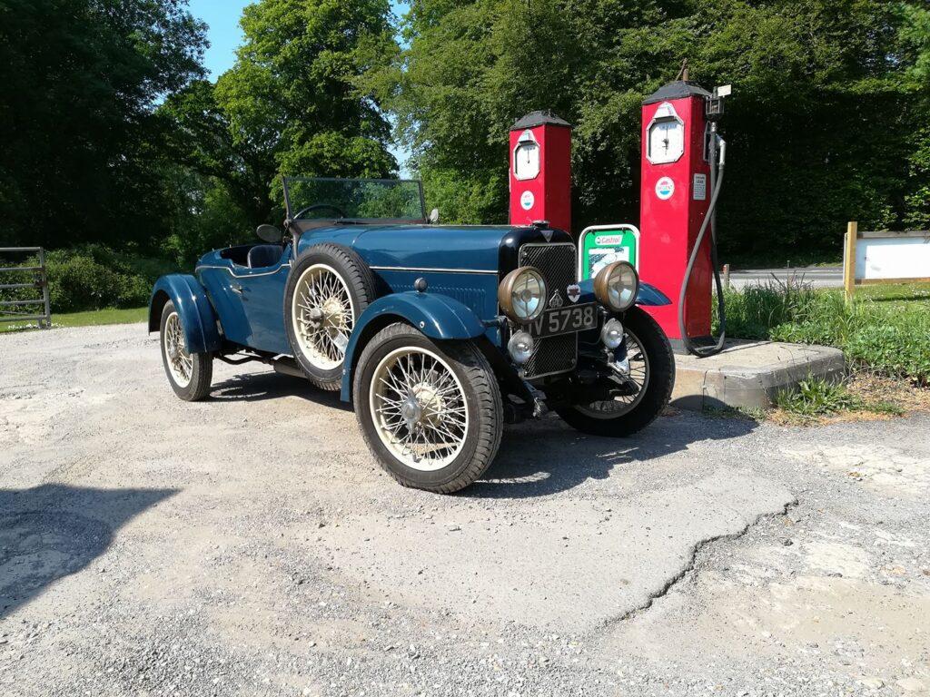 Blue open classic car