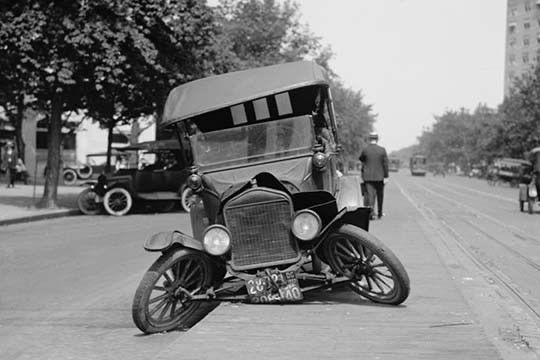 Broken classic car