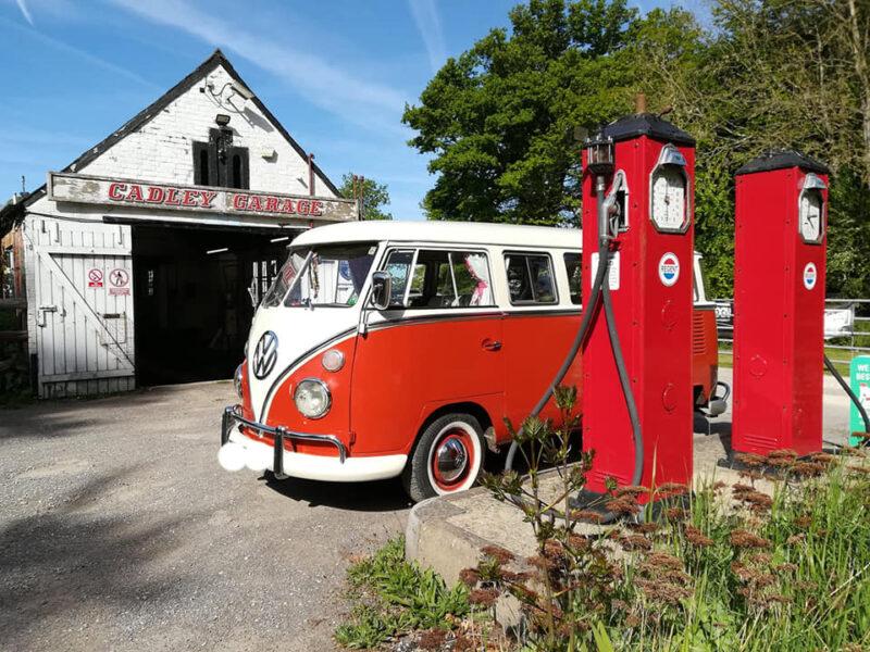 red and cream camper van