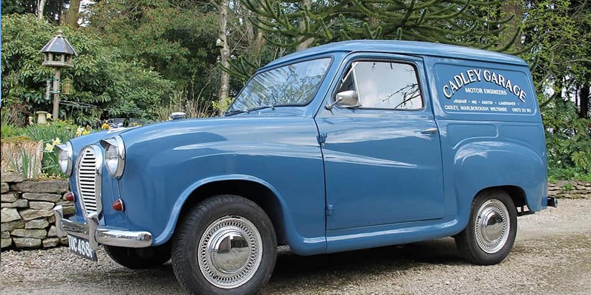 cadley garage vintage blue van